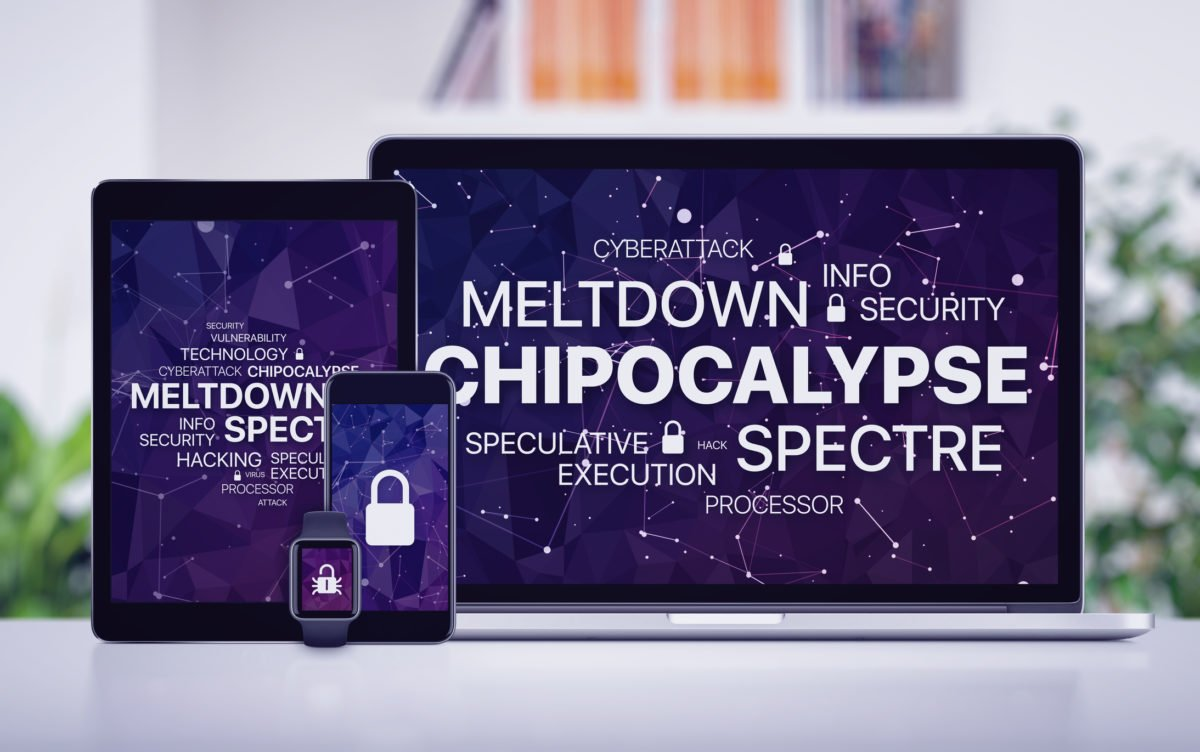 Chipocalypse concept with meltdown and spectre threat on screens of various devices